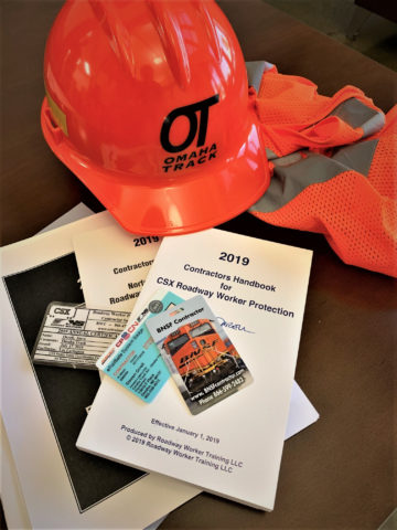 Omaha Track Safety clothes and paperwork